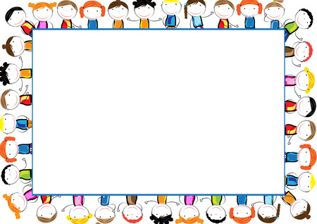 colorful frame: Colorful frame with happy girls and boys Illustration