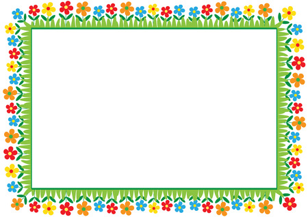 Cute and abstract frame with colorful flowers Ilustração