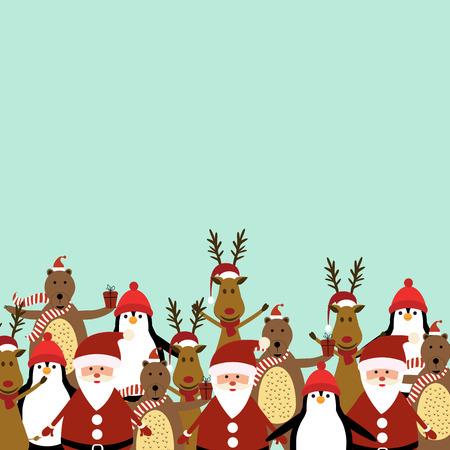 Cute christmas card with Santa, reindeer, bear and penguin