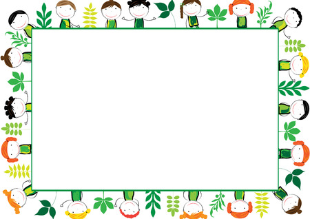 Cute and abstract frame with ecology kids