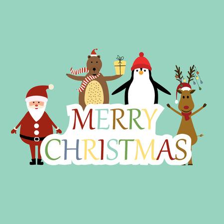 x mas background: Cute christmas card with Santa, reindeer, bear and penguin