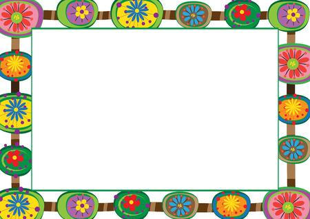 marcos decorativos: Marco lindo y abstracto con flores de colores