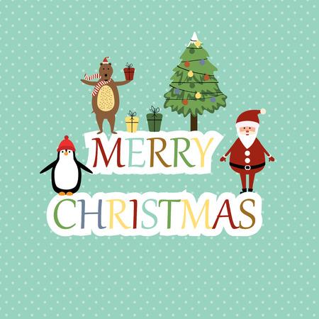 x mas background: Cute christmas card with Santa, bear and penguin