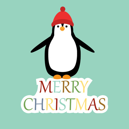 x mas card: Cute and abstract christmas card with penguin