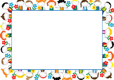 Colorful frame with happy girls and boys Illustration