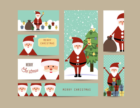 x mas background: Cute christmas card and banners with santa