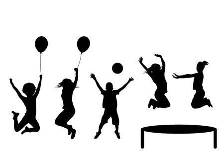 silhouettes of children: Happy girls and boys playing and jumping