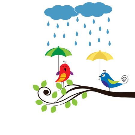couple in rain: Colorful kids card with birds and umbrellas