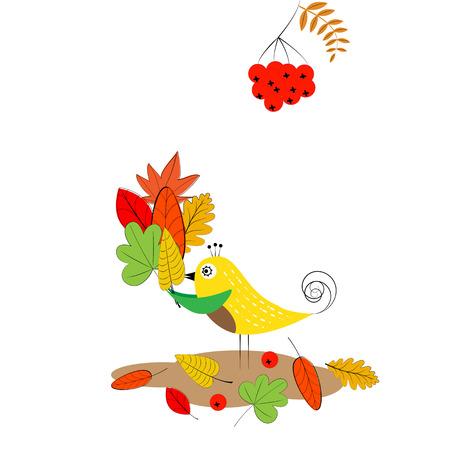 oiseau dessin: Carte avec des feuilles d'automne colorés et oiseaux