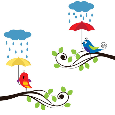 Colorful kids background with birds and umbrellas