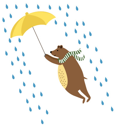 couple in rain: Colorful kids card with bear and umbrella