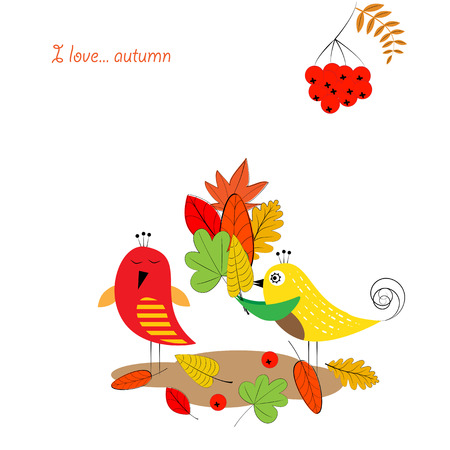 autumn leafs: Card with colorful autumn leafs and birds