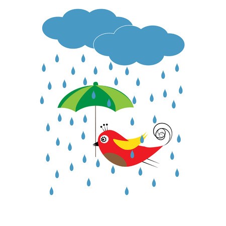 Colorful kids card with bird and umbrella
