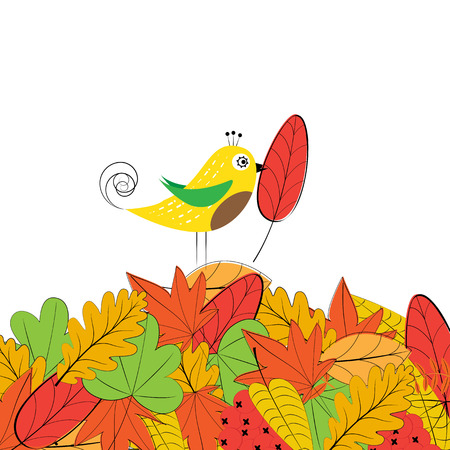 Card with colorful autumn leafs and bird
