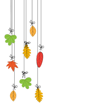 Abstract and cute card with colorful autumn leafs Illustration