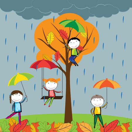 kropla deszczu: Szczęśliwe dzieci bawiące się w jesienne liście