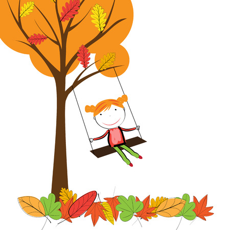 Happy children playing in the autumn leaves