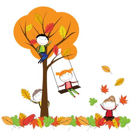 가을 나뭇잎에 재생 행복 한 아이