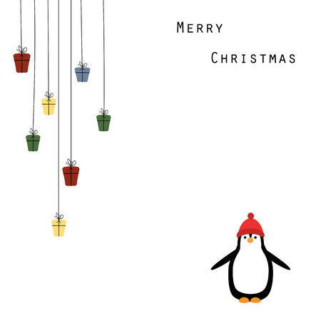 Cute and abstract christmas frame with happy penguin