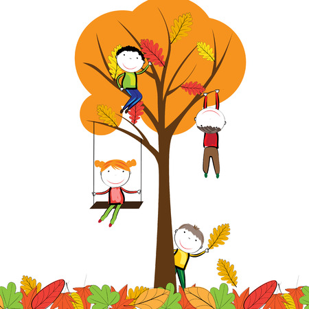kids background: Happy children playing in the autumn leaves