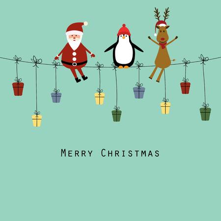 joyeux noel: Carte de Noël mignonne avec le Père Noël, rennes et pingouin