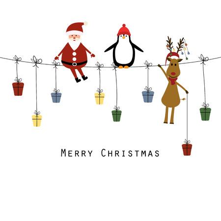 Leuke kerstkaart met de kerstman, rendier en de pinguïn