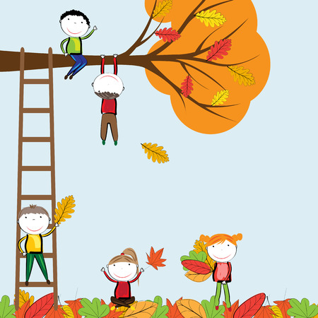 playtime: Happy children playing in the autumn leaves