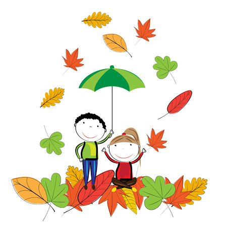children in autumn Illustration