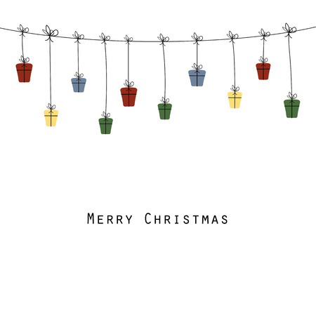 Cute and abstract christmas card with many gifts