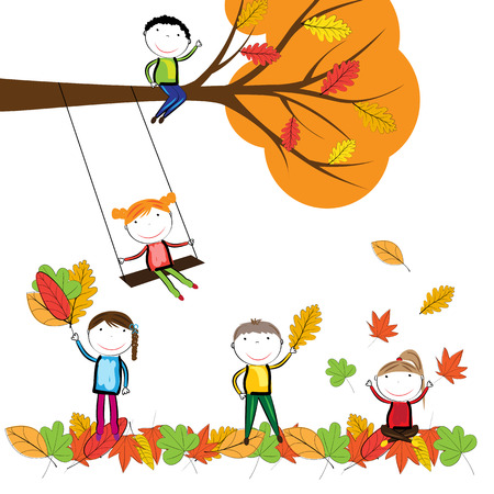 young leaves: Happy children playing in the autumn leaves