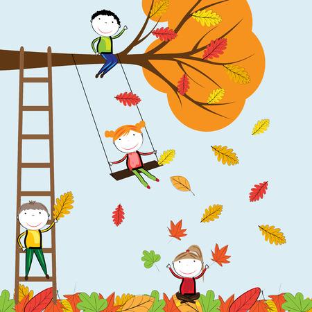 silhouette femme: Enfants heureux de jouer dans les feuilles d'automne Illustration