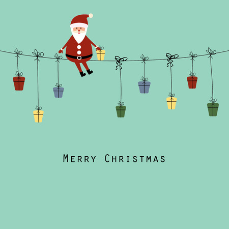 Cute christmas card with Santa and gifts