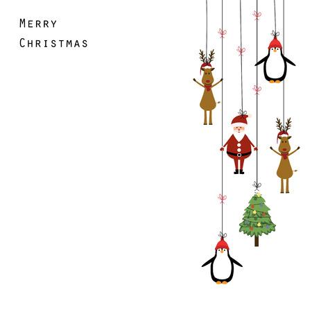 renna: Cartolina di Natale sveglia con Babbo Natale, renne e pinguini Vettoriali