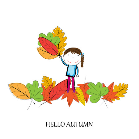 healthy kid: Happy children playing in the autumn leaves