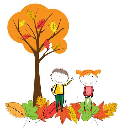 niño y niña: Felices los niños jugando en las hojas de otoño Vectores