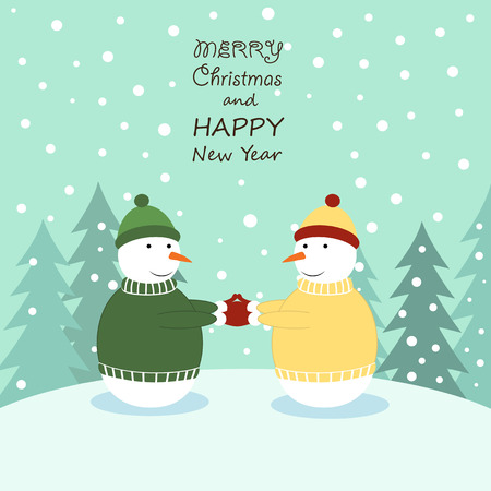 Cute cartoon Christmas card with with rsnowmans