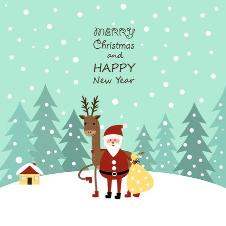 Cute cartoon Christmas card with with reindeer and santa