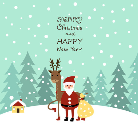 Cute cartoon Christmas card with with reindeer and santa