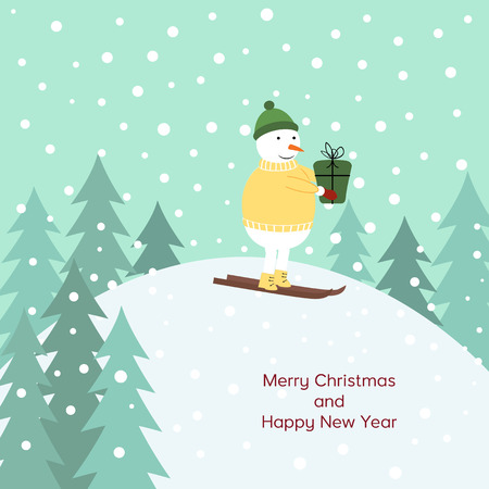 Cute cartoon Christmas card with snowman