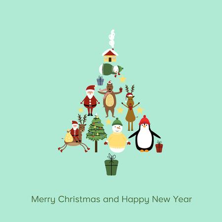 Cute cartoon Christmas card with cute Christmas tree