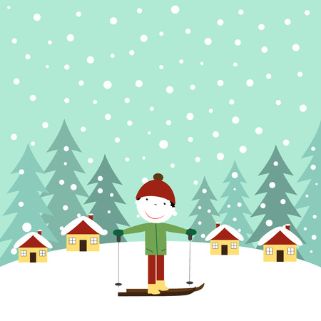 Cute winter card with the happy boy Illustration