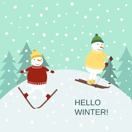 Cute winter card with snowmans on the ski