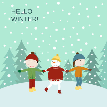 winter girl: Cute winter card with the happy boy, girl and snowman Illustration