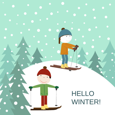 ski: Cute winter card with the happy girl