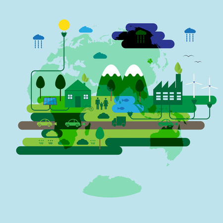 cleaning planet: Ecology concept, green energy and green city