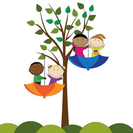 niño preescolar: Niñas y niños que juegan afuera felices y pequeñas Vectores