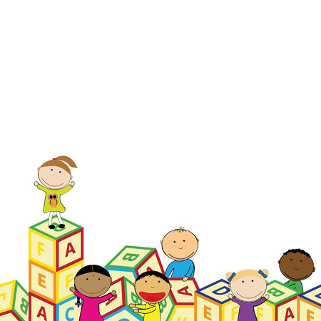 action girl: Illustration with happy kids and colorful blocks Illustration