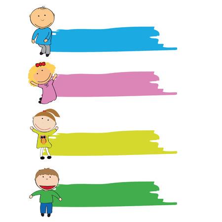 niños con pancarta: Felices las niñas y los niños con la bandera de colores