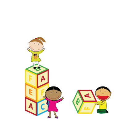 letter blocks: Illustration with happy kids and colorful blocks Illustration
