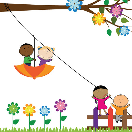 painting and stylized: Happy small girls and boys playing outside